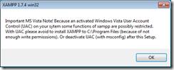 xampp-pemberitahuan bagi pengguna OS Vista